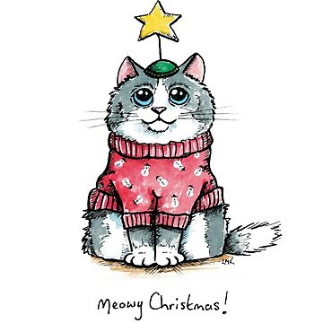 Meowy Christmas Cat Red Jumper by LisaMarieArt