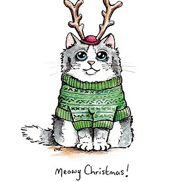 Meowy Christmas Cat Green Jumper by LisaMarieArt