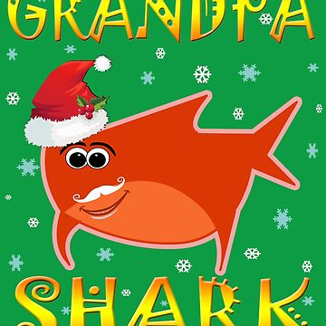 Christmas Grandpa Shark Funny Tshirt Design Gift Idea by werdanepo