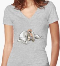 Petite Rouge en le Loup  Women's Fitted V-Neck T-Shirt