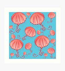 Compass Jellyfish Chrysaora Hysoscella jellyfish illustration with pattern of pink jellyfishes on baby blue background Art Print