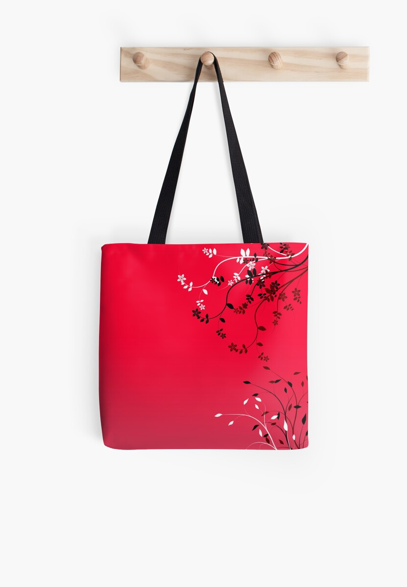 Red black white flowers on red pink background by Anteia