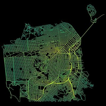 San Francisco, USA Colored Street Network Map Graphic by ramiro