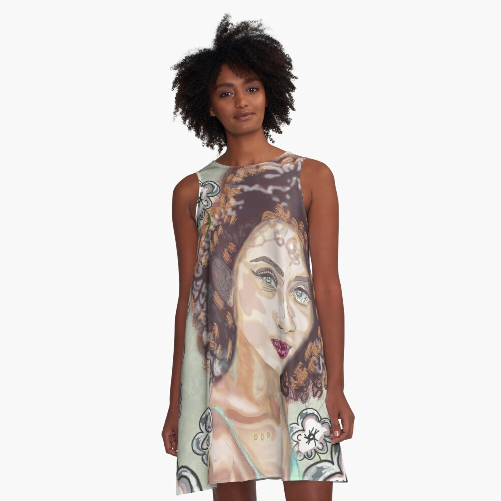 portrait of women with flower backround  A-Line Dress Front