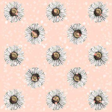 Weißes Gänseblümchen auf Pfirsich Bokeh Blumenblumen-Illustration von Saburkitty
