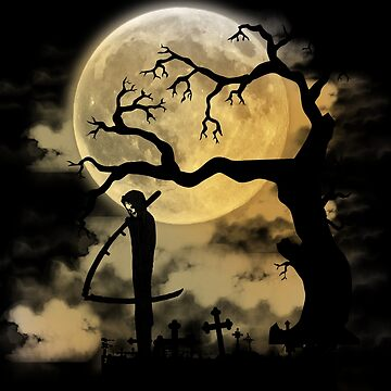 Death Grim Reaper Spooky Full Moon Graveyard Halloween Novelty Gifts by vince58