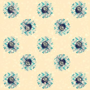 Knickenten-grünes Gänseblümchen auf Buttercream gelbe Bokeh Blumenblumen-Illustration von Saburkitty