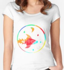 Colorful Rocket Art Design Gift Idea Women's Fitted Scoop T-Shirt