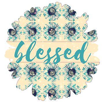 Aquamarines blaues Gänseblümchen auf Buttercream Gelbes Bokeh Blumen-Blumen-Illustration + Blessed von Saburkitty