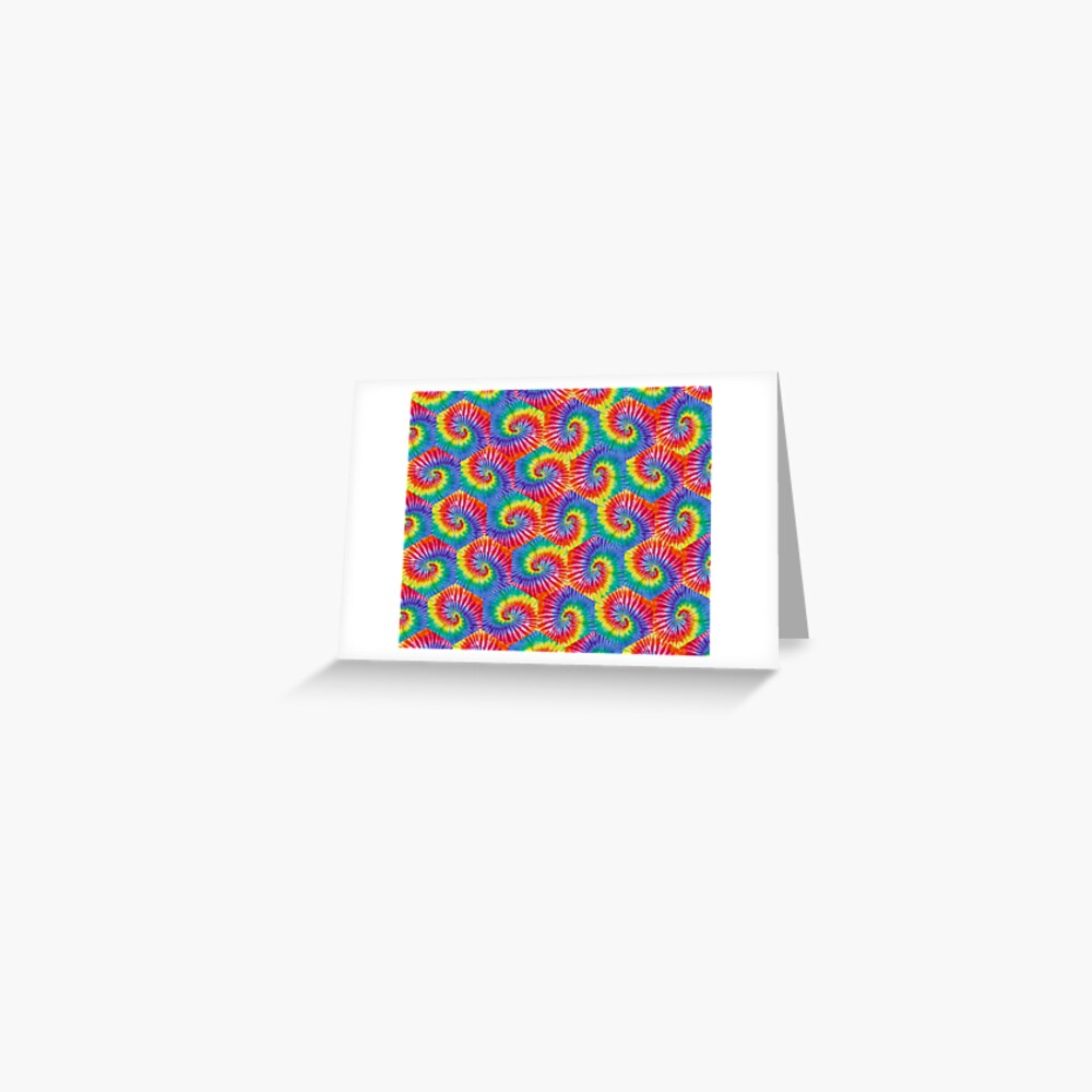 Tie-Dye Hexagon Psychedelic Bohemian Hippie Festival 60's Funky 70's Greeting Card