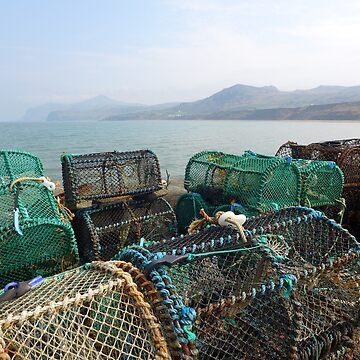 Crab pots, sea and mountains at Nefyn, North Wales by AnnaMyerscough