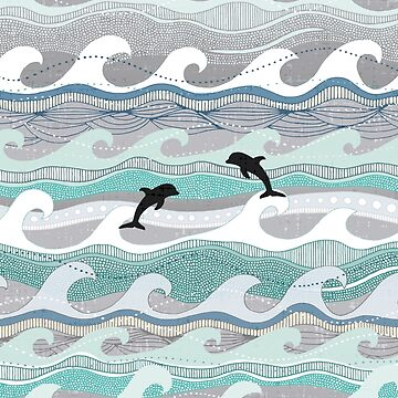 dolphins and waves by scrummy