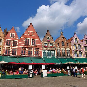 Bright buildings and alfresco dining in the market square, Bruges by AnnaMyerscough