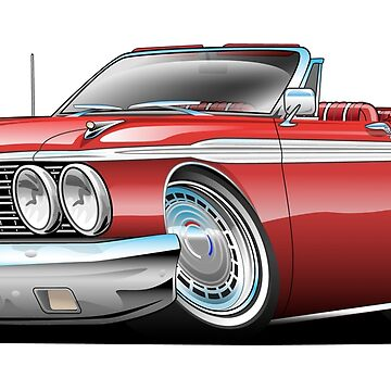 Classic Sixties American Convertible Muscle Car Cartoon by hobrath