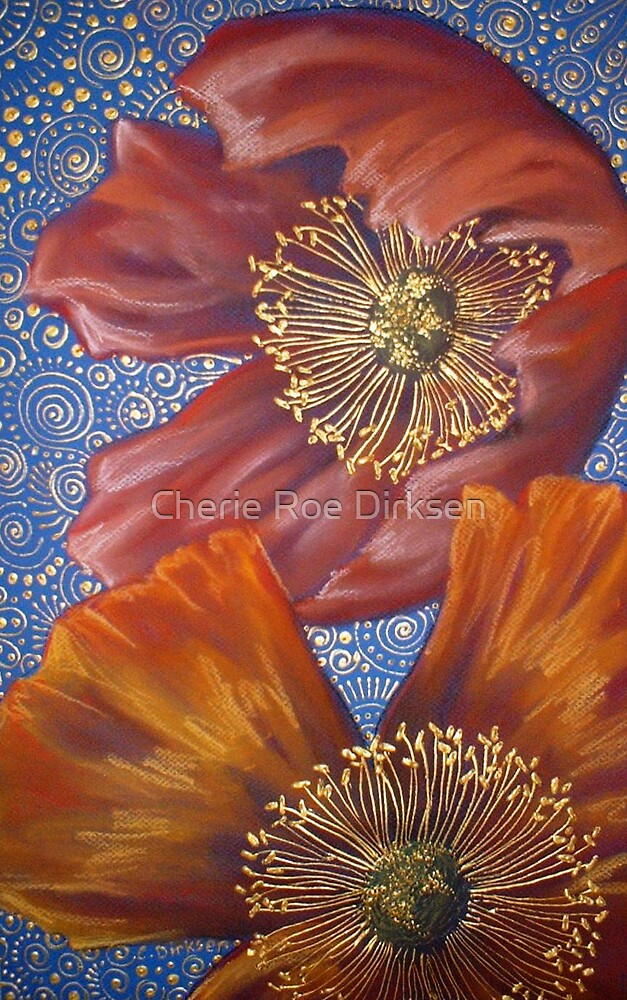 Poppies on Blue by Cherie Roe Dirksen