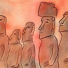 Moai statues watercolor by idriera