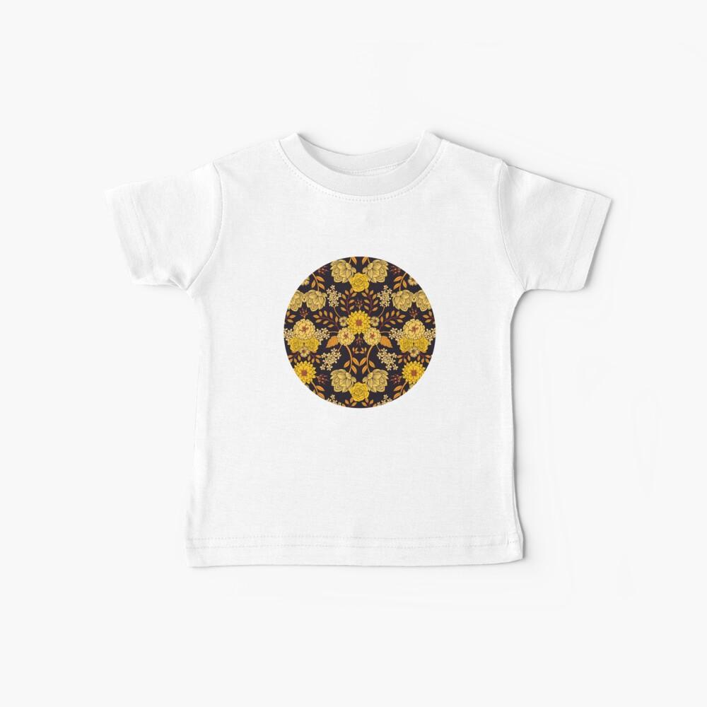 Yellow, Orange & Navy Blue Dark Floral Pattern Baby T-Shirt