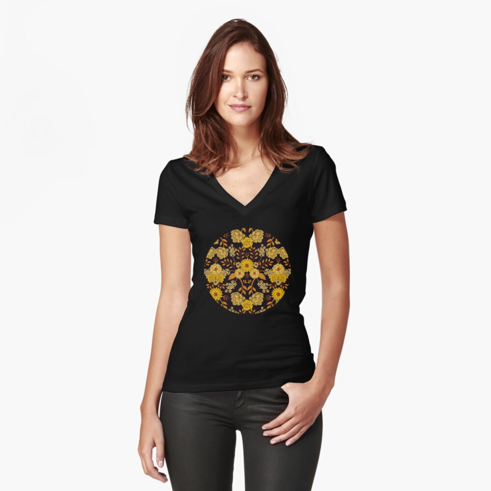 Yellow, Orange & Navy Blue Dark Floral Pattern Fitted V-Neck T-Shirt
