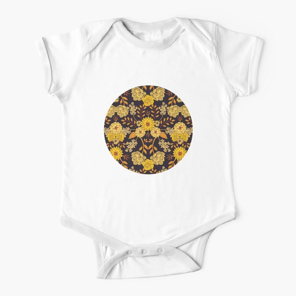 Yellow, Orange & Navy Blue Dark Floral Pattern Baby One-Piece