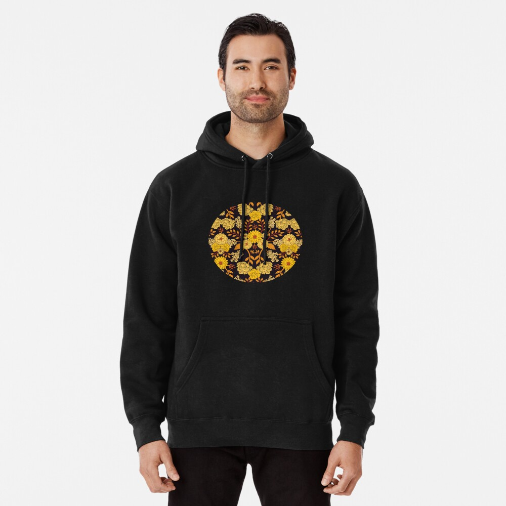Yellow, Orange & Navy Blue Dark Floral Pattern Pullover Hoodie