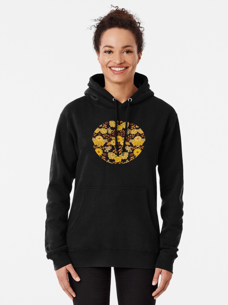 Alternate view of Yellow, Orange & Navy Blue Dark Floral Pattern Pullover Hoodie
