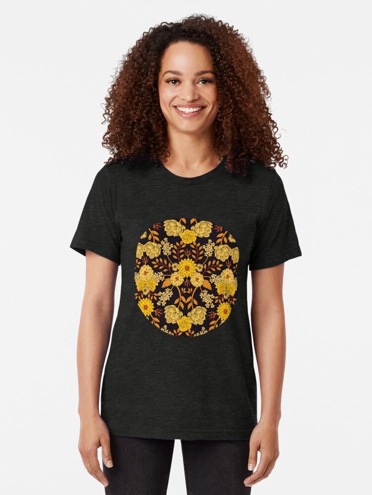 Alternate view of Yellow, Orange & Navy Blue Dark Floral Pattern Tri-blend T-Shirt