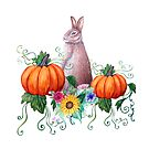 Fall Rabbit , pumpkin and sunflower in watercolor by MagentaRose