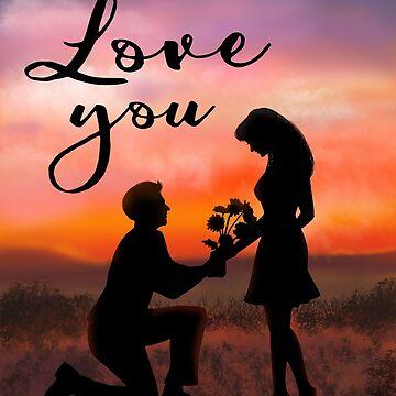 Love you Romantic Sunset Couple by Marinaross