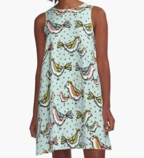 Cute Mama Birds Heart Love Blue and Pink A-Line Dress