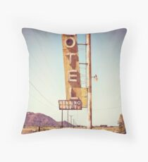 Motel Sign on the Route 66 Throw Pillow