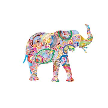 Colorful Floral Elephant by Vintage-Rose