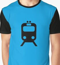 Blue Line CTA Inspired Chicago Elevated Train Pattern Graphic T-Shirt