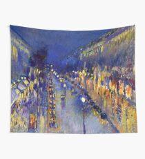 Pissarro Montmartre Boulevard Night Wall Tapestry