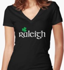 St. Patrick's Day City Pride - RALEIGH Women's Fitted V-Neck T-Shirt