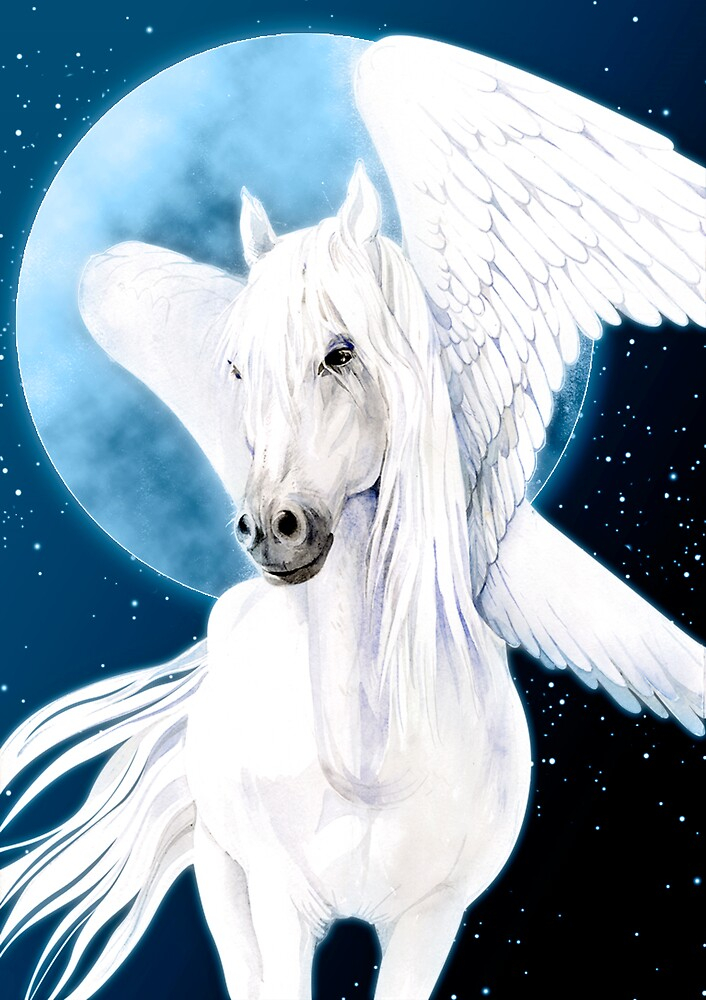 pegasus white female on moon night sky by armornavy
