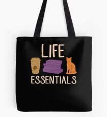 Life Essentials: Coffee, Books, and Cats Tote Bag