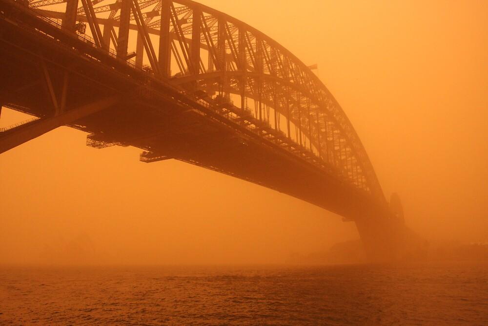 Red Dust Storm - Sydney Bridge by Mal Wood