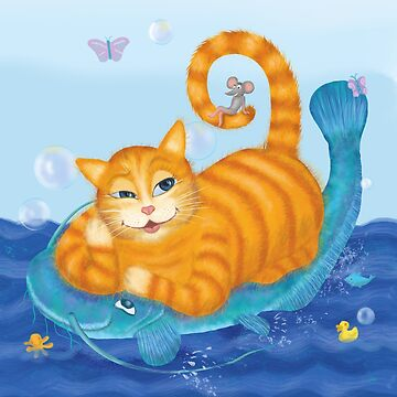 Orange tabby cat and blue catfish floating in a sea of joy by andreeadumez