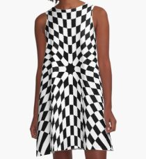 #black #white #checkered #chess #pattern #abstract #flag #floor #square #checker #board #chessboard #texture #check #design #race #illustration #squares #tile #racing #game  #checked #tiles #geometric A-Line Dress