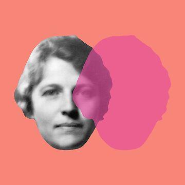 Pearl S. Buck portrait - pop orange pink by savantdesigns