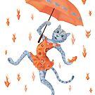 Hallelujah! It's raining GOLDfish! Funny cat with umbrella by Andreea Dumez