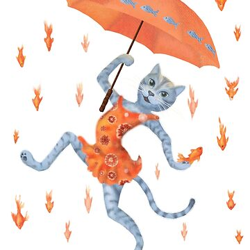 Hallelujah! It's raining GOLDfish! Funny cat with umbrella by andreeadumez