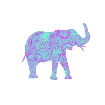 Teal Floral Elephant by Vintage-Rose