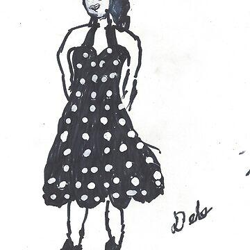 Retro Girl in Black & White by Doodles68