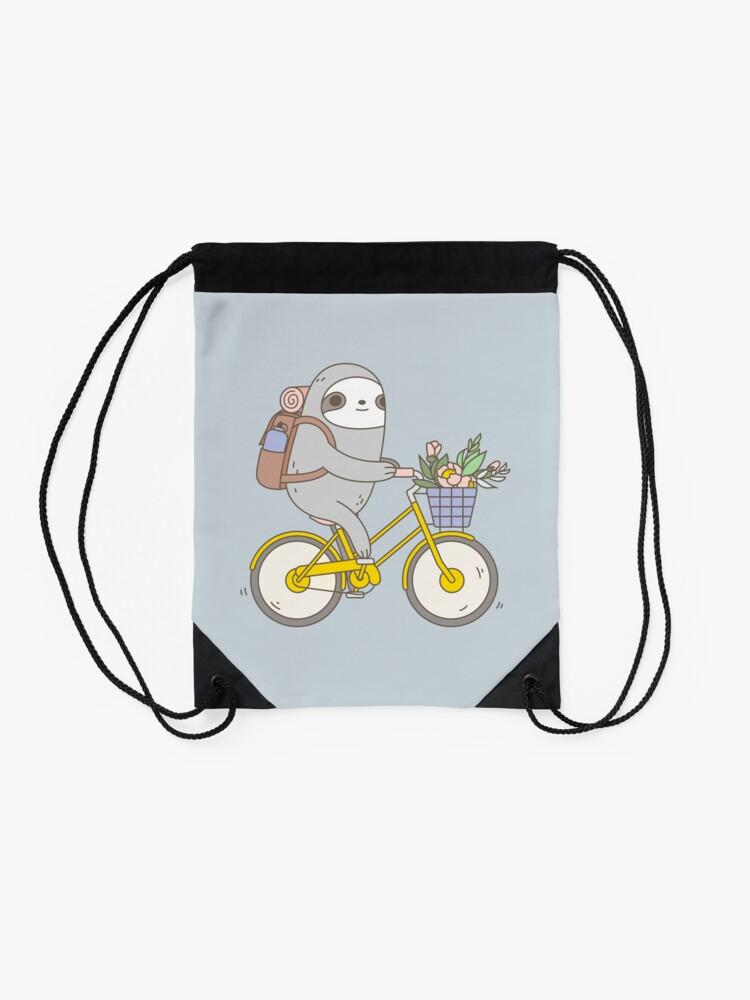 Alternate view of Biking Sloth  Drawstring Bag