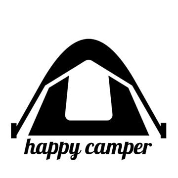 Happy Camper Black Tent - Wanderlust by Vintage-Rose