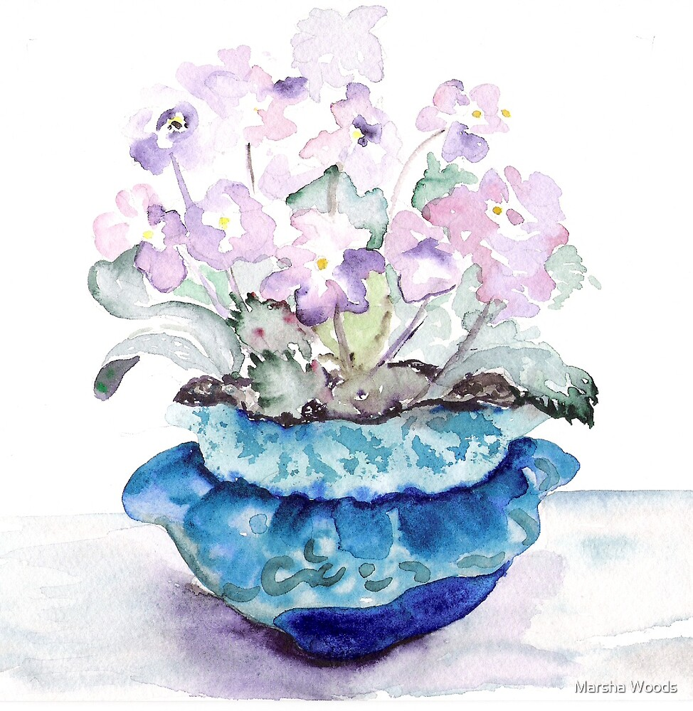 Little Blue Pot by Marsha Woods