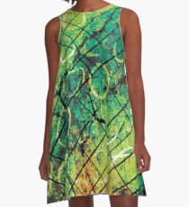 Graffiti, Bold, Circles, Wire, Orange, Teal, Olive, Gray, Black A-Line Dress