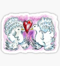 Doves and Heart Sticker