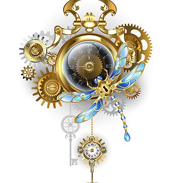 Steampunk Clock with Mechanical Dragonfly by Blackmoon9